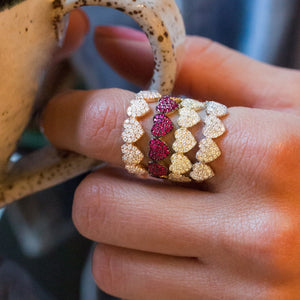 2019 Lover valentine's gift Micro pave cz heart silver gold multi color women finger ring size 6 7 8 - thefashionique