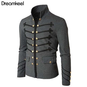 2019 Man Purim Victorian Gothic Style Jacket Zipper Christian Medieval Knight Coat Solid Middle Ages Male Carnival Clothing Y - thefashionique