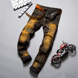 2019 Men Stylish Ripped Jeans Pants Biker Skinny Slim Straight Frayed Denim Trousers New Fashion Skinny Jeans Men Clothes - thefashionique