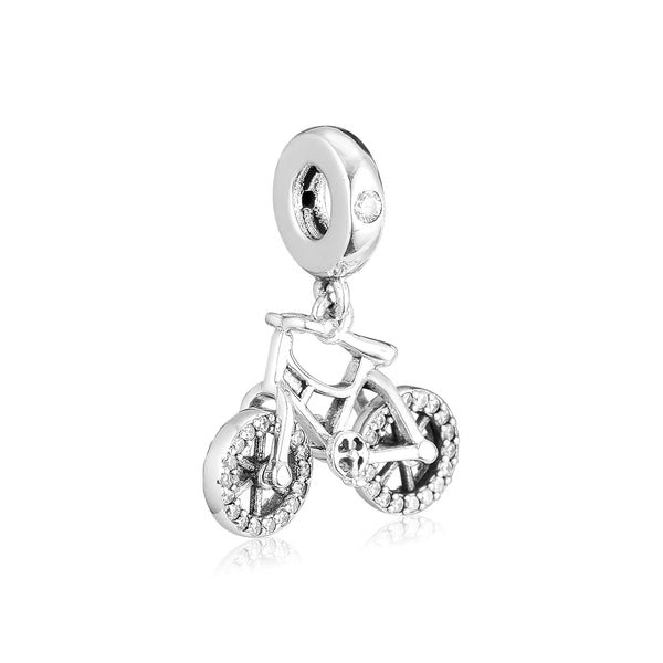 2019 New 925 Sterling Silver Brilliant Bicycle Beads for Women Fits Original Pandora Bracelets Necklace Silver Charms Jewelry - thefashionique