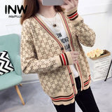 2019 New Arrival Coats Striped Knitted Jacket Women Casual Female Autumn Winter Jackets Outwear Print Jacket Women Jaqueta Mujer - thefashionique