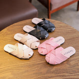 2019 New Fashion Summer Style Children Weave Slippers Shoes For Girls Closed Toe Beach Slippers Sandals Size 26-36 - thefashionique