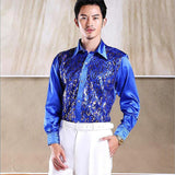 2019 New Men's Glittering Sequined Shirt Shirt Stage Performance Clothing Dance Gala Hosted Chorus Shirts High Quality - thefashionique