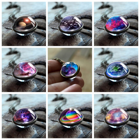 2019 New Nebula Galaxy Double Sided Pendant Necklace Universe Planet Jewelry Glass Art Picture Handmade Statement Necklace - thefashionique