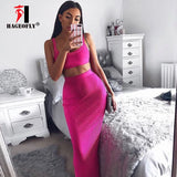 2019 New Sexy Two Pieces Sets Dress Women Rose Red Nude Pink Mid-calf Tank Fashion Elegant Runway Bandage Dress Rayon Vestidos - thefashionique