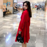 2019 New Spring  High Waist With Bow Casual  Dresses Fashion Women Chiffon Dresses Long Sleeve Dress Red Black - thefashionique