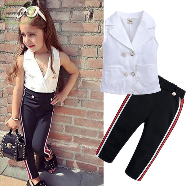 46324ee06ce7a 2019 New Summer fashion Kids Clothing Set sleeveless blouse black stripe  Pants 2pcs Children Girl Clothes Sets For 1-6T Dtz452