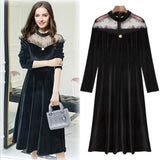 2019 New Women's Dresses Winter Spring Long Sleeve Dresses Casual Long Dress mesh stitching Sexy dress velvet Dress CY3078 - thefashionique