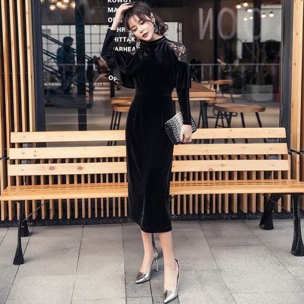 2019 New spring Pencil Women Black Full Cloak Sleeves dress Lace Stand Mid-calf Vintage Party Elegant Velvet Dresses Vestidos - thefashionique