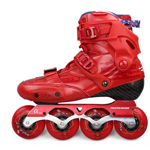 2019 Original Powerslide EVO Hardcore Red Carbon Fiber Inline Skates Street Adult Roller Skating Shoes Free Skating Patines