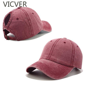 2019 Ponytail Baseball Cap Washed Cotton Hat Women  Snapback Cap Casual Summer Sun Visor Caps Female Messy Bun Outdoor Sport Hat - thefashionique