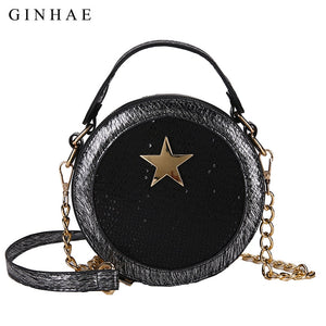 2019 Sequins Women Round Bag Ladies Fashion Luxury Leather Handbag Shoulder Bags Small Crossbody Bags For Women Brand Chain Sac - thefashionique