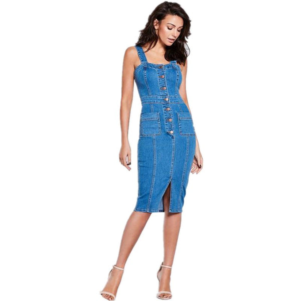 2019 Sexy Denim Dress Midi Summer Dress for Women Sundress Sleeveless Strap Button Pocket Cowboy Dress Bodycon Ladies Dresses - thefashionique