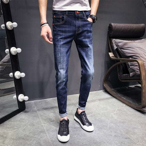 2279651d 2019 Spring And Summer New Trend Korean Couple Casual Fashion Stretch Slim  Sports Jeans Joggers Streetwear