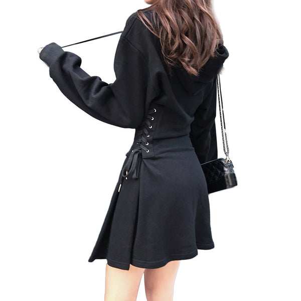 2019 Spring Hooded Dresses Women Sides Lacing Up Retro Dress - thefashionique