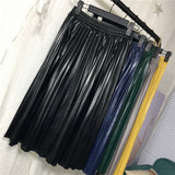 2019 Spring New Arrival High Waist Leather Skirt Organ Pleated Skirt Elegant 8 Colors Available Ladies Skirts Free Shipping - thefashionique
