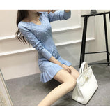 2019 Spring New Arrival Knit Bag Hip Sexy Dress V Neck Long Sleeved Sweater Style Vestido Slim Bodycon Dress Free Shipping - thefashionique