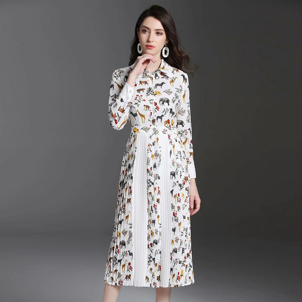 2019 Spring Print Pleated Dress High Quality Sweet Full Sleeve Turn-down Collar Mid-Calf Length Female Slim Cute Dress - thefashionique