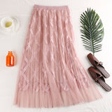 2019 Spring Summer Women Tulle Skirts Beaded Mesh Lace Skirts High Waist Pleated Tutu Skirt Female Jupe Longue - thefashionique