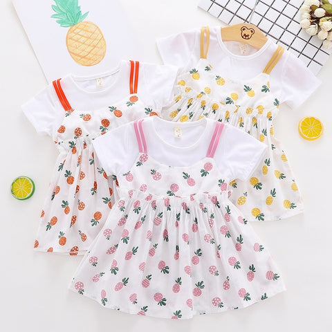 9b24bbbe06f0 2019 Summer Baby Girls Kids Children sweet Fake two pieces pineapple print  Party Dresses, Princess