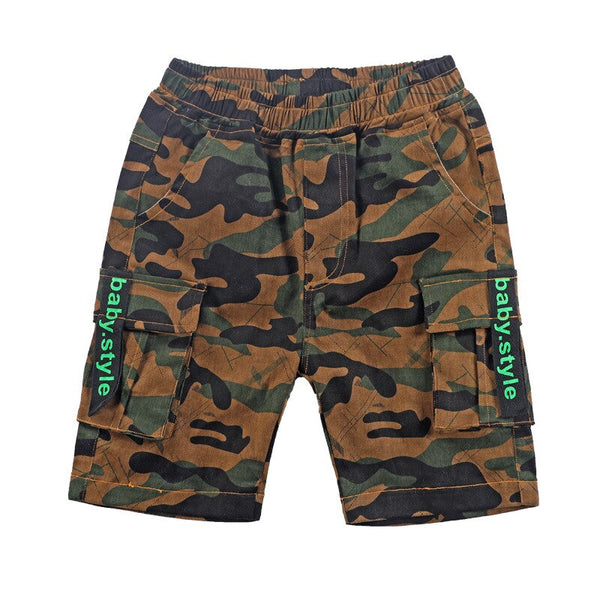 2019 Summer Boys Straight Pants Knee Length Teenage Boy Pant Korean Fashion Loose Casual Camouflage Cargo Pants for 8 12 14 Ages