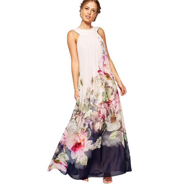 2019 Summer Chiffon Maxi Dress Women Fashion Sleeveless Floral Printed Dresses Party Women's Boho Casual Long Beach Sundress #YL - thefashionique
