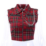 2019 Summer New Arrival Gothic punk women Red Chain Plaid zipper crop tank tops fashion slim chic sexy club short tank tops - thefashionique
