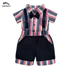 2019 Summer Newborn Baby Boys Sets Baby Cotton Short Sleeve Rompers +overalls Pants 2PCS Baby Sets Boys Clothes for 1 2 birthday