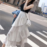 2019 Summer Women Midi Skirts Korean Boho Bohemian Ruffles Ladies Beach Holiday Polka Dot Layer Flare High Waist Skirt For Women - thefashionique