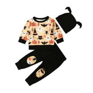 2019 Toddler Baby Girl Boy Autumn Clothes Halloween Long Sleeve Tops Sweater Pants Hat 3PCS Outfit
