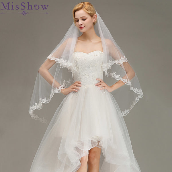 2019 White Ivory Short Cheap wedding veil short with a comb Two Layers Bridal Veil voile de mariee velos de novia voile mariage - thefashionique