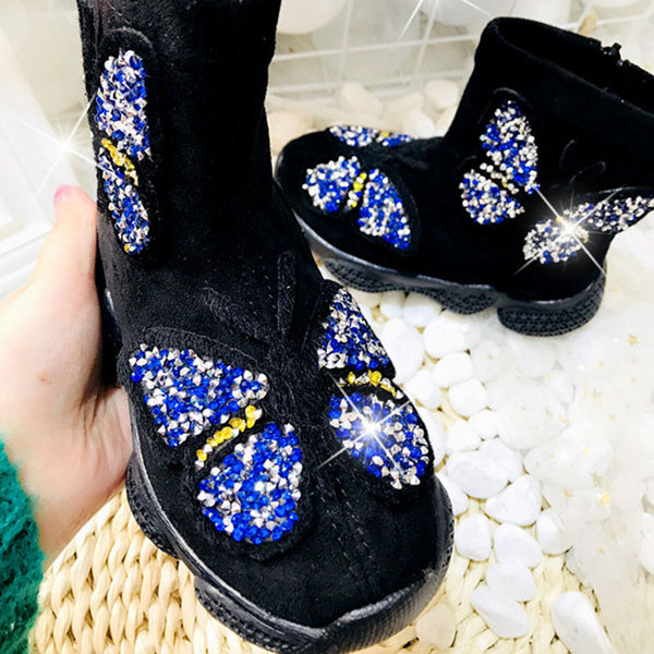 2019 Winter New Children Warm Sport Sneakers Kids High Top Casual Shoes Baby Girls Sock Shoes Butterfly Rhinestone Brand Shoes - thefashionique