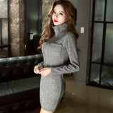 2019 Women Spring Stand Collar Skinny Knitting Dress Zippers Pockets Solid Dresses Sexy Stretch Sheath Pencil Bodycon Vestidos - thefashionique