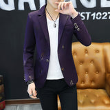 2019 Youth Slim   blazer Men Fashion Casual Spring Print blazer - thefashionique