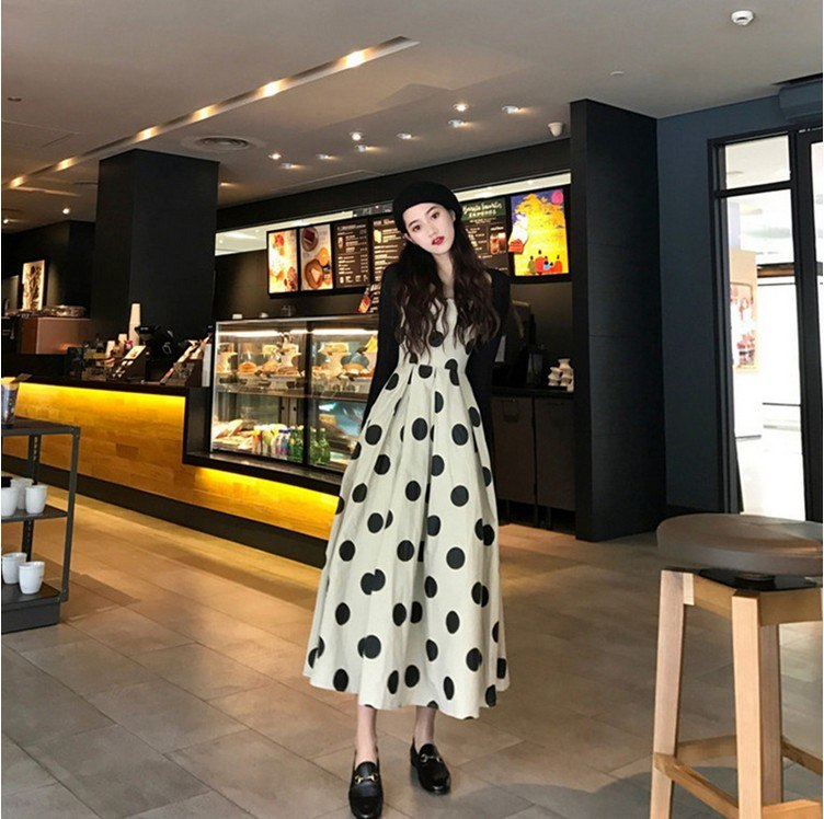 8a4576c5db8bf 2019 hot selling women's fashion long dot dresses sets girls casual summer  holiday beach nice ball dress black size XL M S #A189