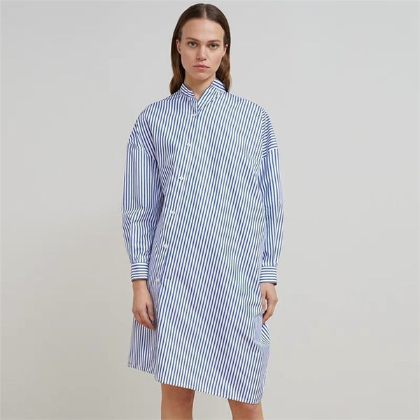 2019 new Nordic style blue and white vertical stripes irregular slanting door squat long shirt women dress - thefashionique