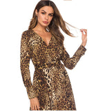 2019 new arrival women's sexy club leopard dresses long sleeve girls loose slim dinner dress lady fashion size S M L XL #A223 - thefashionique