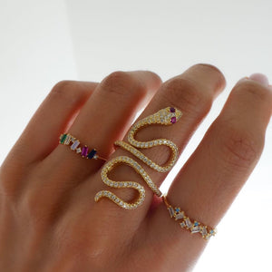 2019 new arrived open size long snake ring rose gold color multi wrap women full finger snake shaped cz ring fashion jewelry