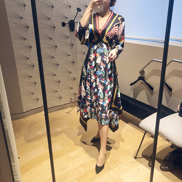 2019 new dress with irregular hem, floral v-neck and loose waist jumper - thefashionique