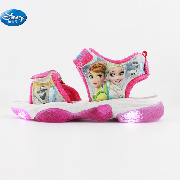 2019 new frozen elsa and Anna girls sandals with LED light  Disney princess kids soft shoes Europe size 20-31 - thefashionique