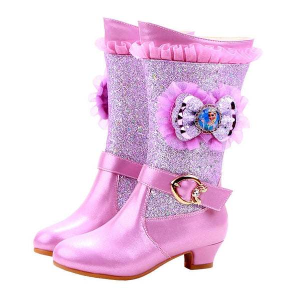 2019 new girls high-heeled boots princess lace Aisha Frozen students warm high boots - thefashionique