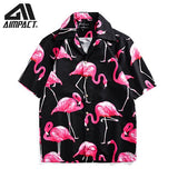 2019Men's Hawaiian Shirts New Summer Short Sleeve Beach Shirts Holiday Sea Floral Print Fast Dry Casual Shirts By Aimpact AM6006 - thefashionique