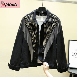 Autumn Denim Jacket Coat Women Rivet Tassel Chain Short Coats Woman Loose