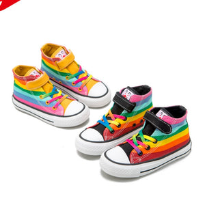 2020 Autumn New Children's Shoes Hight-Top Canvas Shoes for Boys Girls Rainbow Casual Shoes Fashion Anti-Slippery
