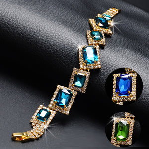 2020 Blue CZ Crystal Women Jewelry Emerald Gemstone Bracelets for Women Luxury Gold Chain Bracelet Emerald Jewelry Weddings Gift