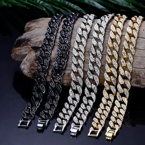 2020 Curb Cuban Link Chain Pendent for Men Gold Silver Hip Hop Iced Out Paved Bling Rhinestone CZ Rapper Necklace Jewelry Gift