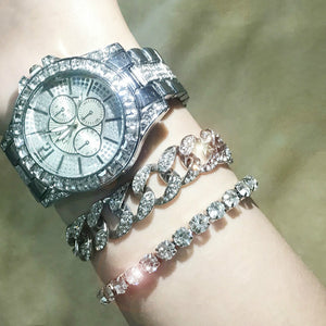 2020 Fashion Women Diamond Watch Men CZ Cuban Link Bracelet Casual Women's Bracelet Crystal Watches Rapper Jewelry for Men