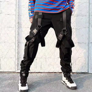 2020 Harajuku Cotton Cargo Pants Men High Street Ribbons Hip Hop Streetwear Sweatpants Joggers Trousers Male Harem Pants Black