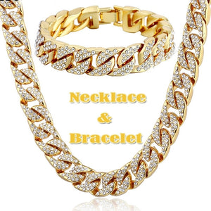 2020 Hip Hop 18K Gold Plated Iced Out Shiny Full Simulated Clear CZ Miami Cuban Link Chain Necklace & Bracelet Mens Jewelry Sets