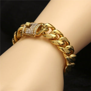 2020 Hiphop Iced Out Curb Cuban Gold for Mens Silver Chain Bracelets and Gold Bracelets for Woman CZ Wristlet Rhinestones Bangle